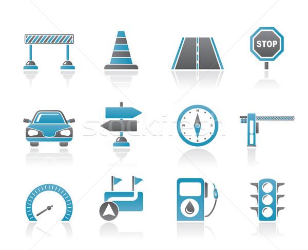 Yol navigasyon trafik simgeler vektör Stok fotoğraf © stoyanh