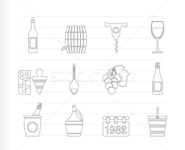 Zdjęcia stock: Wina · pić · ikona · wektora · projektu