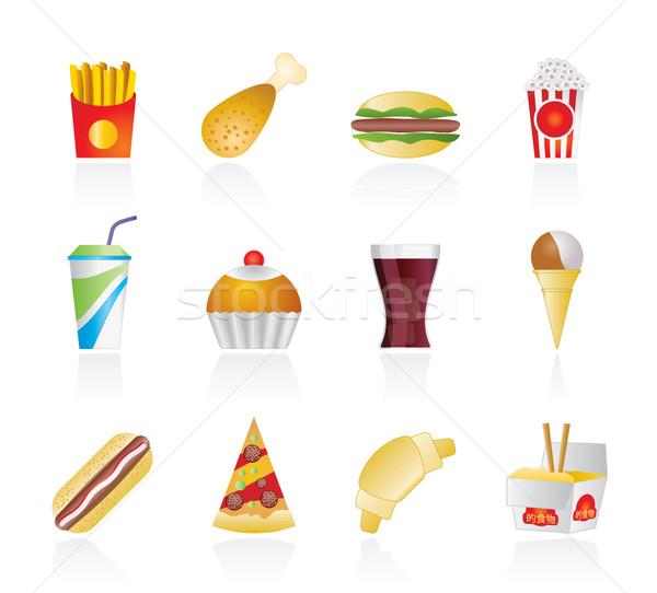 Fast food pić ikona wektora działalności Zdjęcia stock © stoyanh