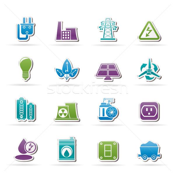 Poder energia eletricidade ícones vetor Foto stock © stoyanh