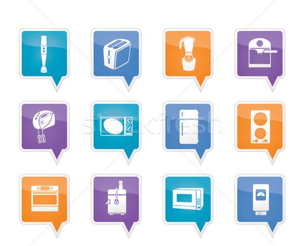 Stockfoto: Keuken · home · uitrusting · iconen · vector