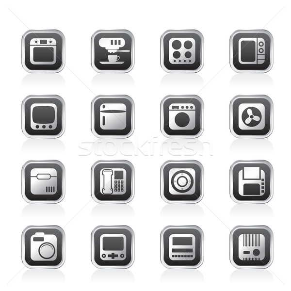 Escritório em casa equipamento ícones vetor telefone Foto stock © stoyanh