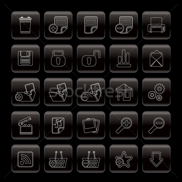25 részletes internetes ikonok vektor ikon gyűjtemény internet Stock fotó © stoyanh