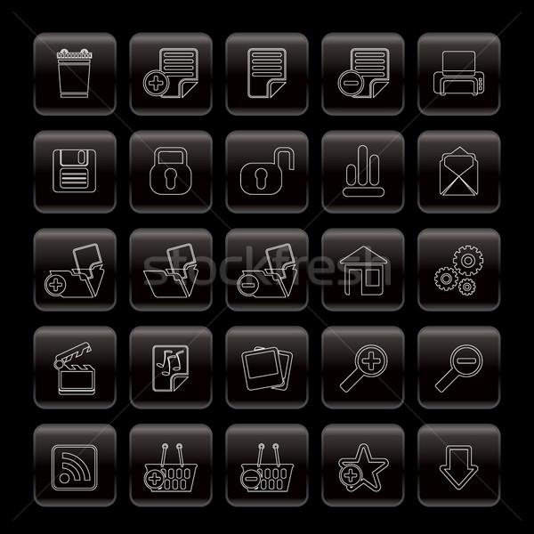 25 gedetailleerd internet pictogrammen vector internet Stockfoto © stoyanh