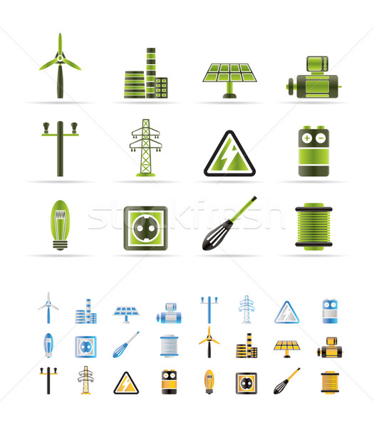 Electricity and power icons - vector icon set   Stock photo © stoyanh