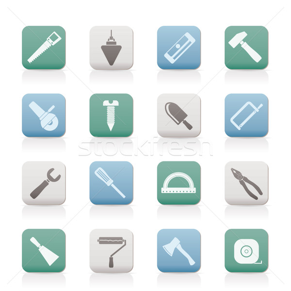 Construction bâtiment outils icônes vecteur Photo stock © stoyanh