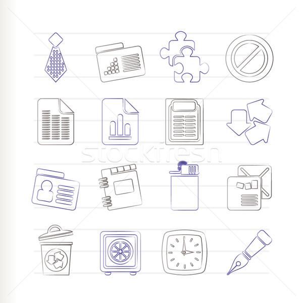 Stock fotó: üzlet · iroda · ikonok · vektor · ikon · gyűjtemény · könyv