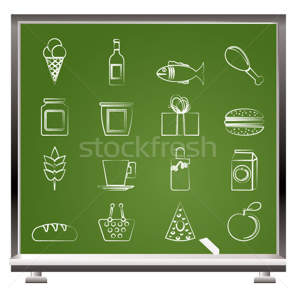 painted with chalk shop, food and drink icons Stock photo © stoyanh