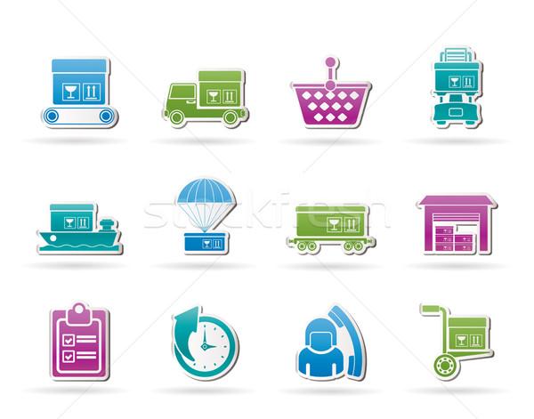 Zdjęcia stock: ładunku · wysyłki · ikona · wektora · działalności