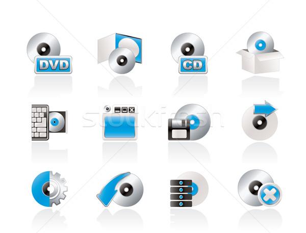 Komputera mediów dysku ikona wektora Zdjęcia stock © stoyanh