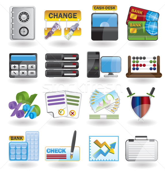 Bank business financieren kantoor iconen vector Stockfoto © stoyanh