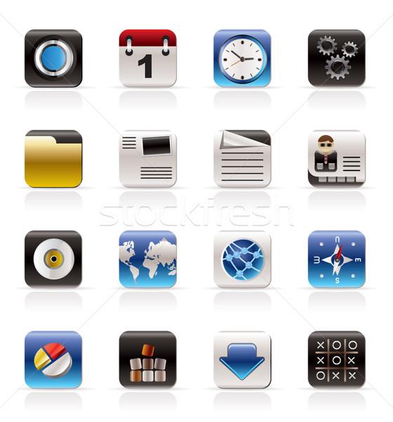 Mobiele telefoon computer internet pictogrammen vector kantoor Stockfoto © stoyanh