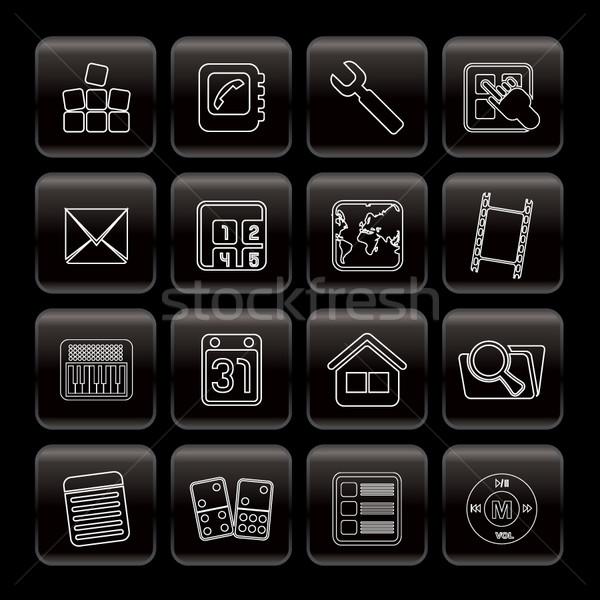 Line telefonu komórkowego computer icon wektora działalności Zdjęcia stock © stoyanh