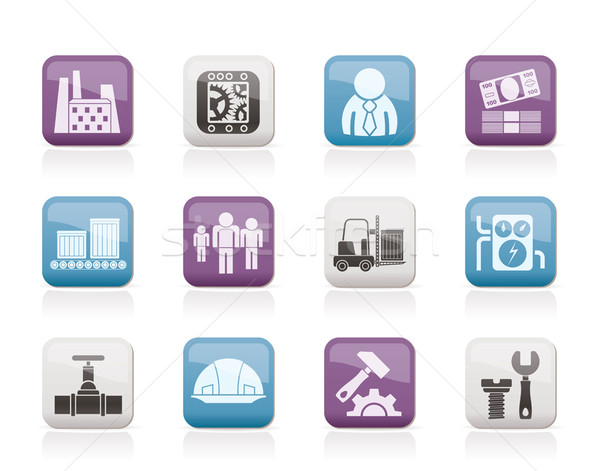 Business, factory and mill icons Stock photo © stoyanh