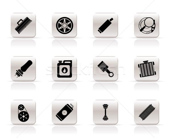 Foto stock: Realista · carro · serviços · ícones · vetor