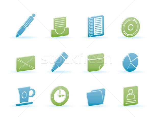 Biuro działalności ikona wektora komputera Zdjęcia stock © stoyanh
