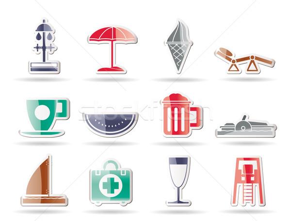 Zdjęcia stock: Ikona · wektora · plaży · piwa