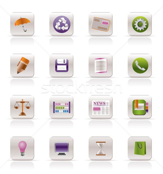 üzlet iroda internetes ikonok vektor ikon gyűjtemény könyv Stock fotó © stoyanh