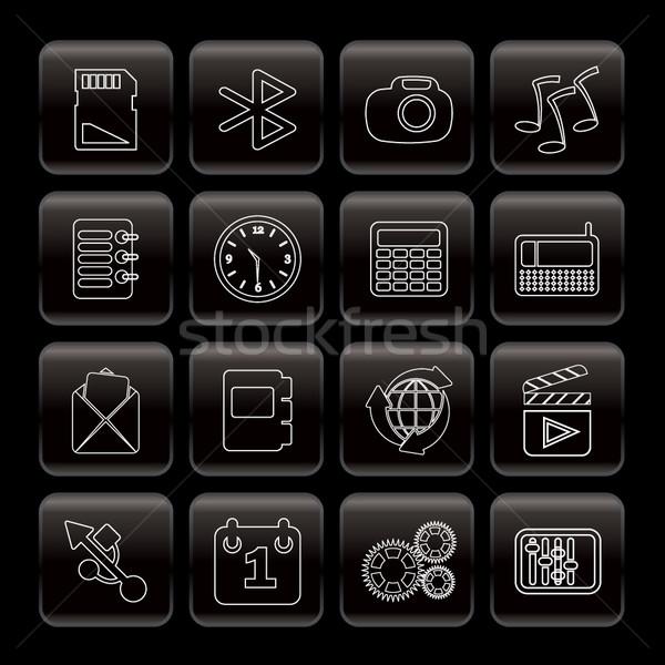 Telefonu wydajność Internetu biuro ikona wektora Zdjęcia stock © stoyanh
