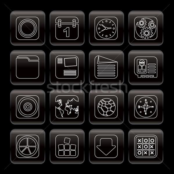 линия мобильного телефона компьютер Интернет иконы вектора Сток-фото © stoyanh
