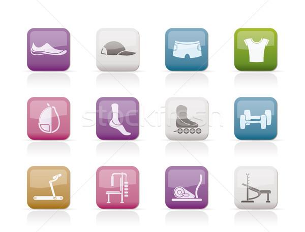 Equipamentos esportivos objetos ícones vetor sapato Foto stock © stoyanh