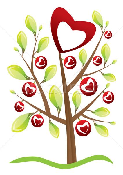Walentynki drzewo miłości serca projektu liści Zdjęcia stock © stoyanh