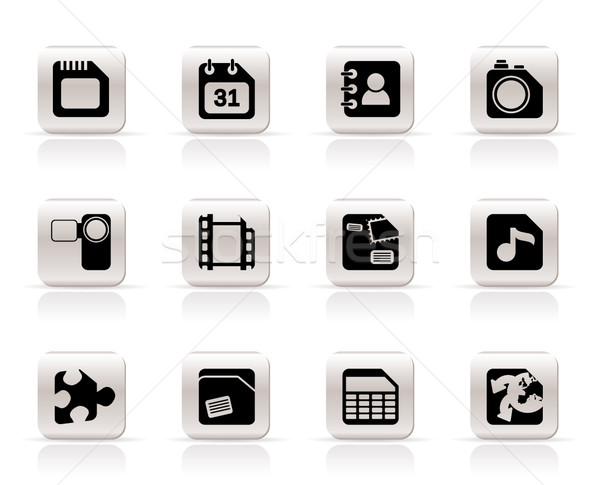 Mobile Phone, Computer and Internet Icons Stock photo © stoyanh