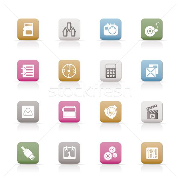 Telefon performans Internet ofis simgeler vektör Stok fotoğraf © stoyanh