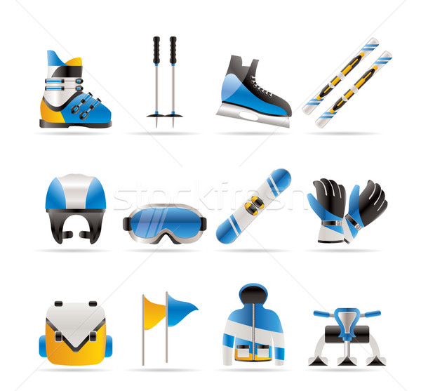 Stock photo: ski and snowboard equipment icons