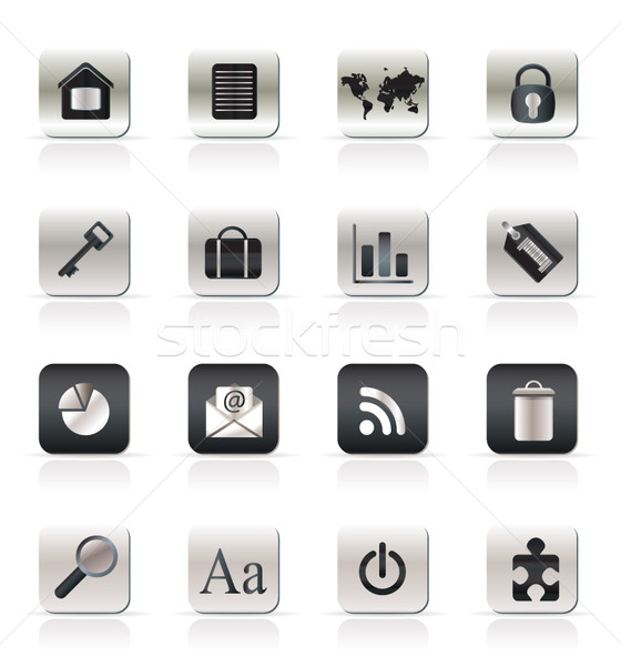 Eenvoudige business internet pictogrammen vector huis Stockfoto © stoyanh