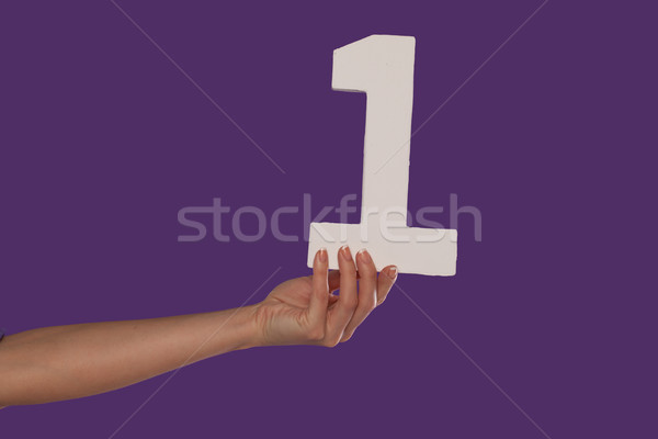 Female hand holding up the number 1 from the left Stock photo © stryjek