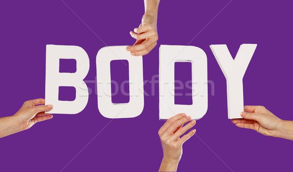 Stock fotó: Női · kezek · tart · levelek · test · szöveg