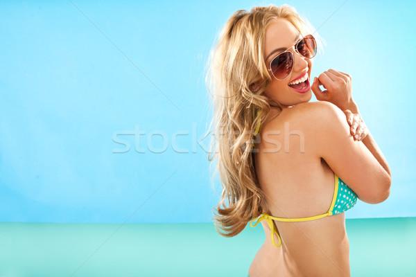 Vivacious long haired blond woman Stock photo © stryjek