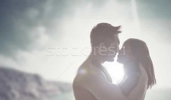 Foto stock: Romántica · beso · sol · amoroso