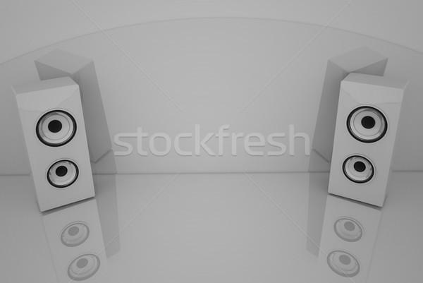 Fényes fehér hangfalak 3D szürke számítógép Stock fotó © stryjek
