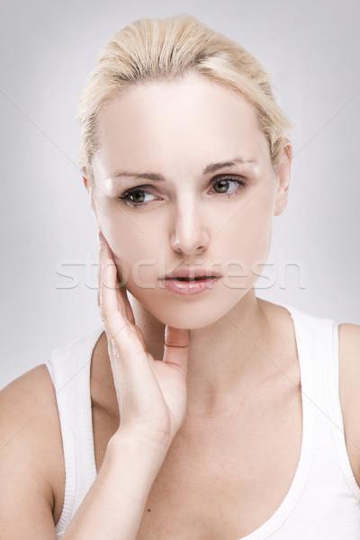 портрет кавказский зубная боль серый девушки Сток-фото © stryjek