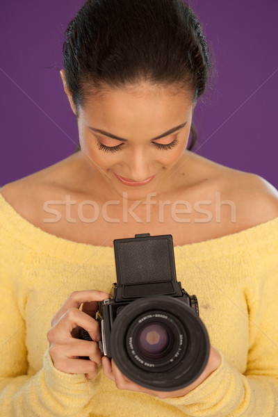 Woman using vintage box camera Stock photo © stryjek