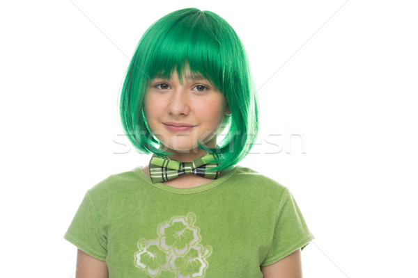 Cute pretty young girl wearing a bright green wig Stock photo © stryjek