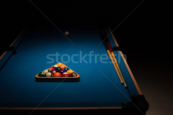 Pool balls and cues on a blue baize table Stock photo © stryjek