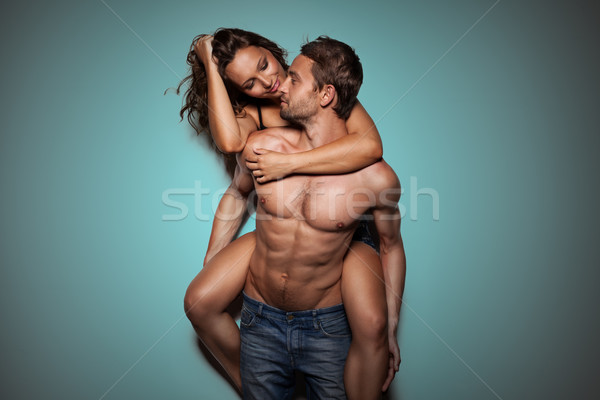 Stock photo: Shot of a passionate young people in love