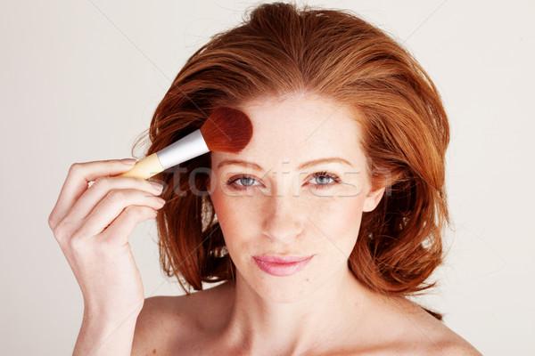 Vrouw gezicht poeder aantrekkelijk Stockfoto © stryjek
