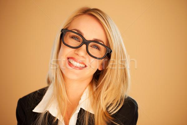 Sorridere di successo imprenditrice indossare occhiali testa Foto d'archivio © stryjek
