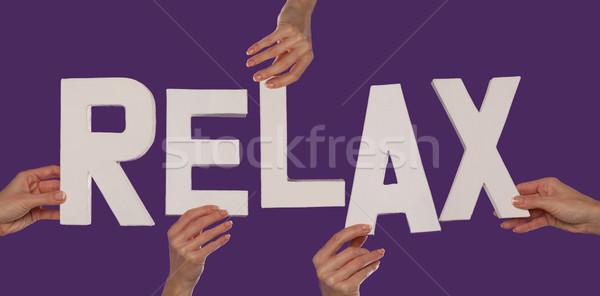 белый алфавит правописание расслабиться вверх Purple Сток-фото © stryjek