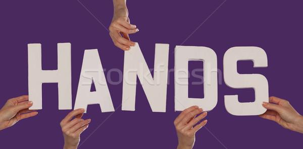 белый алфавит правописание рук вверх Purple Сток-фото © stryjek