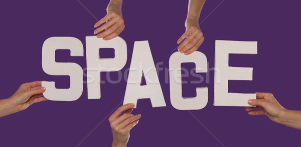 белый алфавит правописание пространстве вверх Purple Сток-фото © stryjek