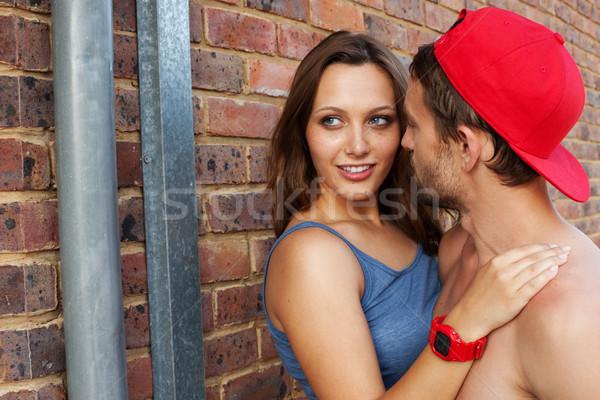 Tiro apasionado jóvenes amor aire libre mujer Foto stock © stryjek