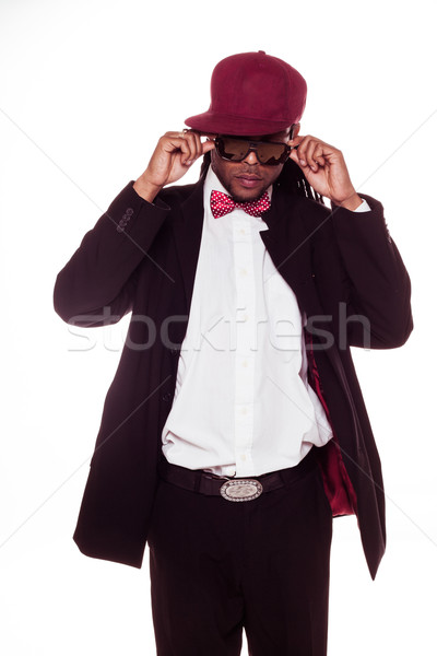 Férfi visel öltöny napszemüveg íj jóképű Stock fotó © stryjek
