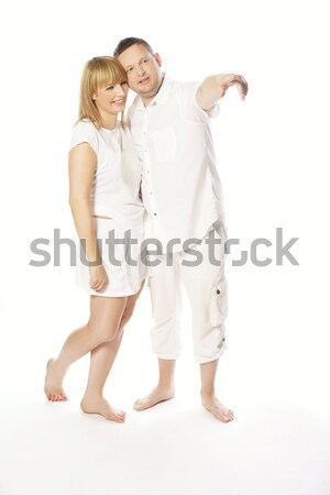 Very Sweet Middle Age Couple in White Stock photo © stryjek