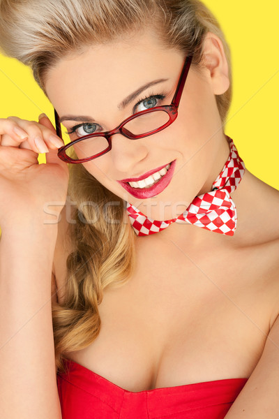 Beautiful blonde in a glasses and a bowtie Stock photo © stryjek