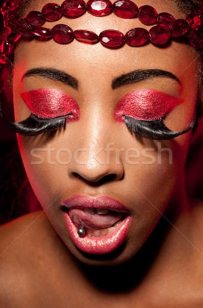 Creative пурпурный африканских женщину Сток-фото © stryjek